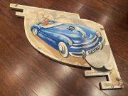 Carousel – panneau décoratif en bois des années 60, peint à la main
