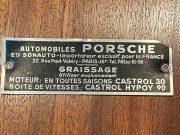 Porsche Sonauto aluminium plate inside engine lid