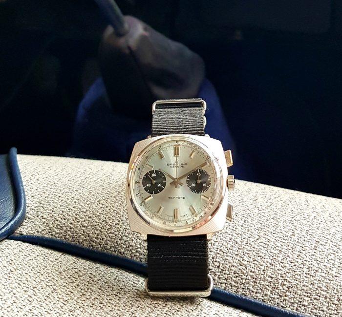 Breitling chronographe top time coussin, Valjoux 7730, circa 1970.