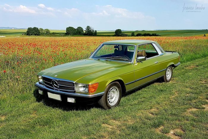 Cool Mercedes 107 450 SLC 5.0 1981 only 107,000 original kms. Citrus Green Metal
